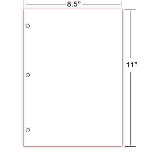 8X11 3-hole Cut Sheet Braille Paper